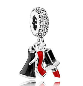 Original 925 Charm en argent sterling Rouge à lèvres Robe Stiletto avec pendentif émail perles Fit Pandora Bracelet Collier Bijoux Diy
