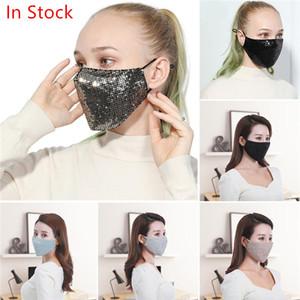 masques paillette sexy masques coton noir or masque mode anti-brouillard Parti unisexe brillant Kpop 5pcs masque visage anti poussière