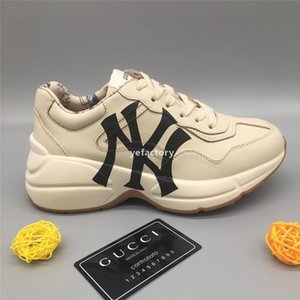 luxurydesigner y328 Rhyton Leather Sneakers with NY Yankees Print Famous Old Dad Oversize Shoes couple Luxury Designers Lace up Casual