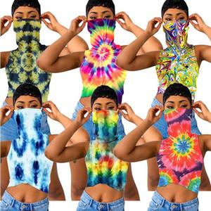 여성 T 셔츠 페이스 마스크 자르기 최고 여자 숙녀 의류 S-XXXL의 D6905 꽃 인쇄 조끼 민소매 T 셔츠를 타이 염색