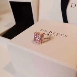 Fashion-Spring and summer 2020 S925 silver plated 18K gold plated pink diamond half circle diamond ring female diamond