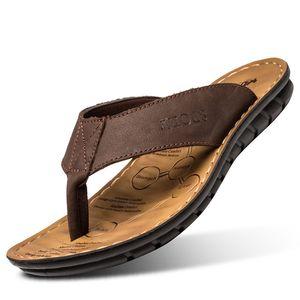 Hombres Moda Playa Zapatos Flip Flops Cuero Beach Shoes Toe Slippers Sandalias de cuero Sandalias de los hombres casuales