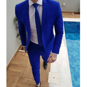 Slim Fit Mens Suits for Prom Stage Clothes Royal Blue 2 Piece Wedding Groom Tuxedos Custom Man Fashion Jacket Pants