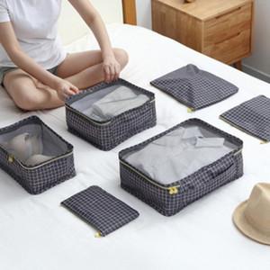 6PCS / Set bagagem embalagem Organizer Kit de viagem malha saco de bagagem Organizer Embalagem Cosmetic Bag Organizador para a roupa