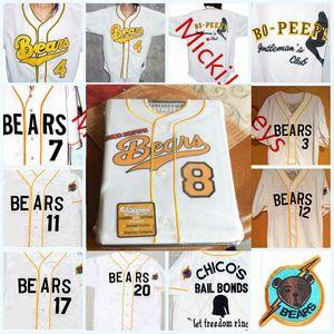 Personalizado Os Bad News Bears jérseis de basebol Qualquer número # 3 Kelly Leak # 7 Miguel agilar # 11 Amanda Whurlitzer # 12 Tanner Boyle Filme Jersey