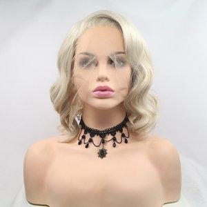 Kadınlar Doğal birimi için Sentetik renkli Peruk Açık Mor Sarışın Kül Gri Bob Dantel Açık Peruk kısa Dalga Saç Değiştirme