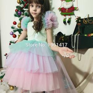 Baby girl, baby girl, princess, color girl wedding dress, children's party dress, Rainbow skirt unicorn cake skirt