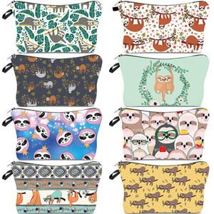 Animal Print Handbag Mulheres Cosméticos sacos de composição bonito Sloth printting viagem Artigos de higiene pessoal Organizer Bag Bolsa 12 Estilo HHA1169