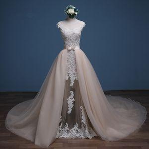 2019 Vestido De Noiva Detachable Train Mermaid Wedding Dress 2018 Sexy Illusion Appliques Sashes Bridal Gown Plus Size