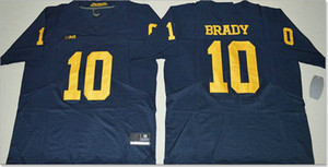 Michigan Wolverines # 10 Tom Brady Tampa Bay squadra # 12 Red American College cucito ricamo Pro squadra di football americano pullover di colore Rush For Sale