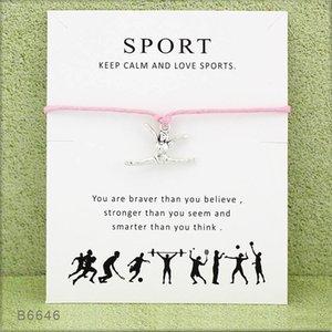 New Gymnastics Wish armband mit Karte frau sport haltung charme Seil wickeln Armreif Für frauen Männer Modeschmuck Geschenk