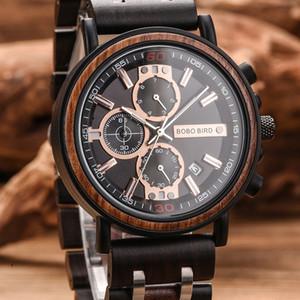 BOBO BIRD Uhr-Mann-montre Holz Uhr-Mann-Chronograph Militäruhr Luxus Stilvolle Dropshipping mit Holzkasten reloj hombre LY191213