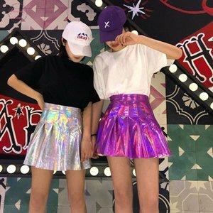 2019 Summer Fashion Mulheres Pu Sólidos Harajuku Casual Sexy Laser Hight cintura Micro Mini Curto Jk Saias plissadas Saias Holographic