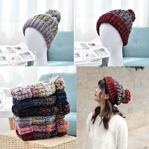 das mulheres quente chapéu de tricô moda tecer cap Pom Pom inverno chapéu ao ar livre curso de crochê beanie quente ski chapéu de festa XD22258 6 cores