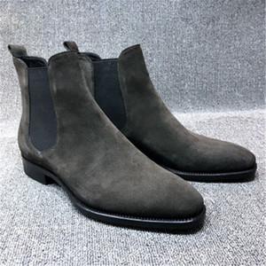 Мужские ботинки из искусственной замши с высоким верхом острым носом ботильоны на открытом воздухе обувь для ходьбы износостойкая Повседневная обувь Botas Mujer
