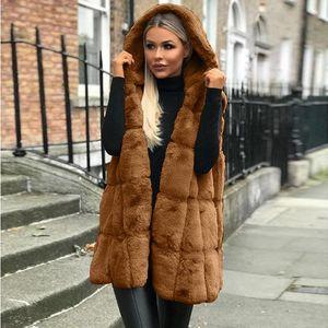Women Fake Fur Vest Coats Autumn Winter Sleeveless Hooded Solid Designer Long Outerwear
