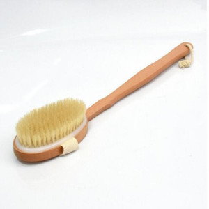New Qualified Shower Brush Natural Long Wooden Bristle Massager Bath Shower Back Spa Detachable Scrubber LX1834