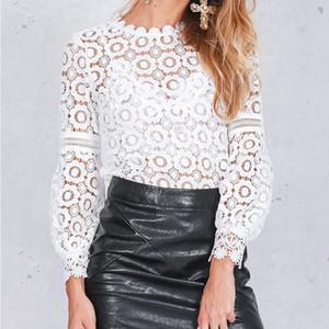 Элегантные цветочные кружева блузка рубашка женщин фонариков рукавом Белая блузка весна лето выдалбливают Топы Блузка Blusas Drop Доставка