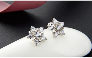 Valentine's day gift women's S925 sterling silver stud earrings SS925 earring cubic zirconia ear stud earbobs factory supplier S A91