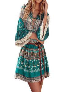 Women Floral Print Three Quarter Sleeve Boho Dress Ladies Evening Party Dress Cold Should Floral Print Short Sleeve Cami#S
