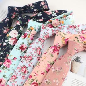 6 centimetri di stampa del cotone stampato floreale casuale 6cm cotone stampato delle donne strette stretto legame floreale delle donne casuali cravatta