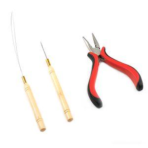 USA Stock Neitsi 3 PC Kit for Micro Ring Link ملحقات الشعر والريش: كماشة ، إبرة سحب متناهية الصغر ، Loop Threader