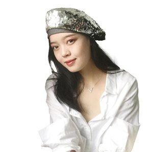 Retro Cap Paillettes Beret Moda Inghilterra delle donne regolabile due colori flip-Spreader Pittore Hat