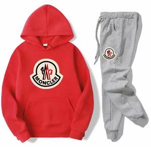 Sets Stück Aller Baumwollfleece Thick Hoodie + Hosen Sportanzug MONC Designer-Kleidung Neuer Anzug Mode Herren Sport Zwei