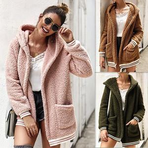 Designer Jacket sólida com capuz Manga comprida Casacos Tops Pockets Mulheres de outono