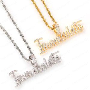 Хип-хоп Мужчины Заявление Ювелирные Изделия Буквы Кулон Ожерелье Золотой Теннис CZ Алмазный асфальтированный безупречный ожерелье