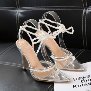 sexy high heels bride shoes silver pearl PVC transparent ankle wrap pumps fashion women dress shoes size 35 to 42 2020