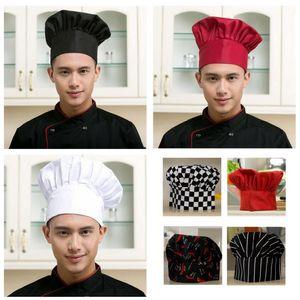 Chef de cozinha Hat Unisex Homens Mulheres Chef Garçom Uniform Cap Bordado Design Cozinhar Padaria BBQ Grill Restaurant Cozinhe Trabalho Hat