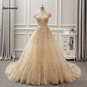 Arabien Dubai 3D Spitze Light Gold Farbe Brautkleider Reich Brautkleider V-Ausschnitt Königlichen Reain Jahrgang Vestido De Noiva