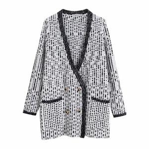 Fashion-Woah 2019 BB108-9602 Euro-American Fashion Knitted Shirt Colour-Matching Coat