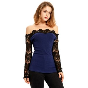 Women Casual Blouse Sexy Slim Off Shoulder Lace Stitching Long Sleeve Tops Shirt Fashion Female Blouses