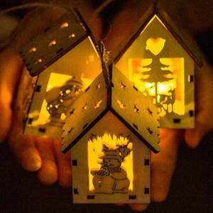 Árbol de Navidad AU pequeña casa de madera de luz LED colgantes lámpara de mesa luminosa Cabinas