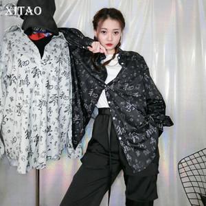 Xitao Harajuku chinês impressão shirt fraco Plus Size Hip Hop Personalidade Mulheres Blusas Mulheres manga comprida Vintage Tops DMY4008