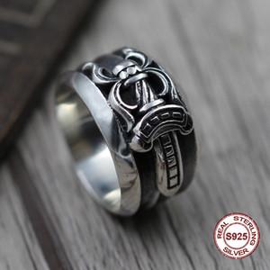 S925 anel de homens de prata pura individualidade estilo punk Do antigo restaurar antigas formas anel da espada Presente original para o seu amante