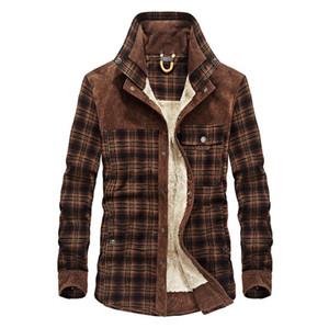 Agasalho Velo Exército Grosso Outono Inverno Plaid Jacket de homens homens Slim Fit roupa dos homens roupas de marca