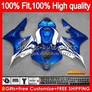 100%Fit Injection For HONDA CBR 600 RR CC 600RR 600F5 CBR600RR F5 07 08 67HC.117 blue silvery CBR600F5 600CC CBR600 RR 2007 2008 OEM Fairing