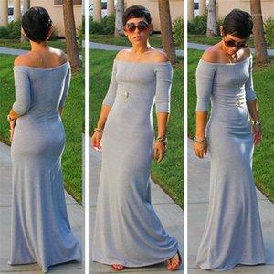 Abiti manica 3/4 vestiti da estate Lond Slash collo solido delle donne di colore Abiti da sposa Evening Party Summer Slim aderente