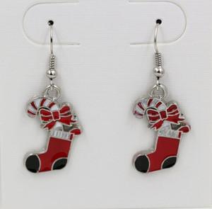 Earring , Red ENAMEL Christmas Socks EARRINGS Antique silver Fishhook Ear Wire 42 x 16mm (309)