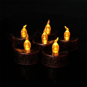Eletrônica Vela Halloween Decorar 12 Pcs LED Velas Fundo Preto Amarelo Luz Twinkle Cera De Chá de Plástico 20 52xh L1
