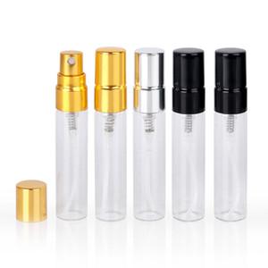 5ML Пустой Очистить Refillable Духи Форсунка прозрачное стекло спрей бутылка с золотом серебро Cap Портативный образца стекла Флаконы 3 цвета RRA2875