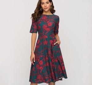 S. flavor Retro Klasik Baskı A-line Elbise Kadınlar Için 2019 Vintage Zarif Ince Parti Vestidos Kadınlar Casual İlkbahar Yaz Elbise