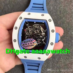 KV New Wristwatches 055 Watch Real White Ceramic Men Watch Skeleton Dial Blue Rubber Strap MIYOTA 8215 Automatic Sapphire Crystal