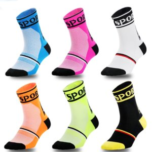 Fashsion Hombres Mujeres Deporte calcetín 2020 nuevo llega la corriente del estilo de bicicletas Baloncesto transpirables Calcetines 6-Color
