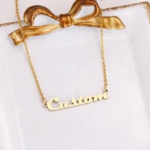 Moda del nombre del alfabeto DOTIFI para las mujeres de la personalidad de acero inoxidable personalizada collar colgante de joyería de compromiso Z21