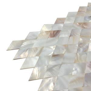 Blanco sin costuras azulejo nacarado pared posterior MOP19017 Rombo SHELL del DIAMANTE de baño azulejo de la pared de mosaico