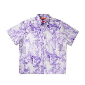 Отпечатано Hip Hop Рубашки Мужчины 2020 Summer Harajuku Крупногабаритной Рубашка Сыпучего длинный рукав Блузка для Man